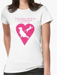 Dog and Cat Heart Womens Fitted T-Shirt