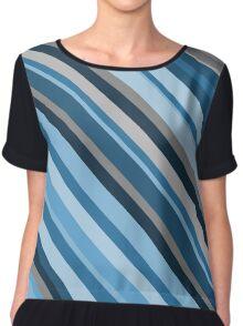 Blue and Grey Stripes Chiffon Top