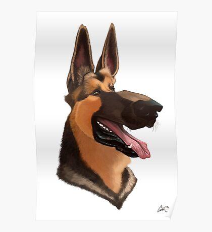 German Shepherd Caricature Poster