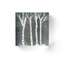 Birch Trees Black and White. Original Watercolor Painting Landscape Art Print from Watercolor Painting Fine Art Print Watercolor Wall Art Acrylic Block