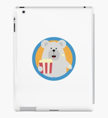 Polar Bear eating Popcorn with circle iPad Case/Skin