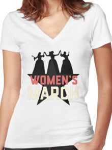 nasty women's march Women's Fitted V-Neck T-Shirt