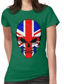 Skull with British Flag Womens Fitted T-Shirt