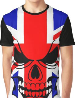 Skull with British Flag Graphic T-Shirt