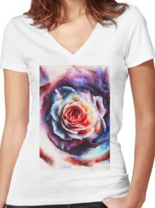 Artistic - XXV - Abstract Rose Women's Fitted V-Neck T-Shirt