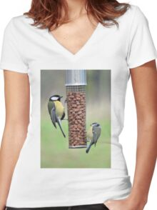 Go Nuts In Cold Weather Women's Fitted V-Neck T-Shirt