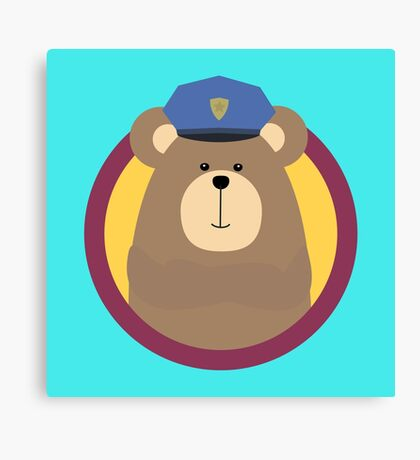 Police Officer Brown Bear in cirlce Canvas Print