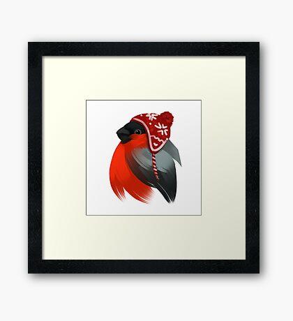 Cute bird in a winter knitted hat Framed Print