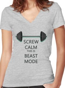 Screw Calm Women's Fitted V-Neck T-Shirt