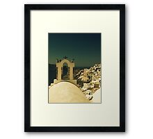 santorini Oia view with cross Framed Print