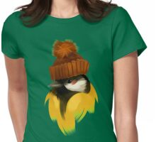 Cute bird in a winter knitted hat Womens Fitted T-Shirt