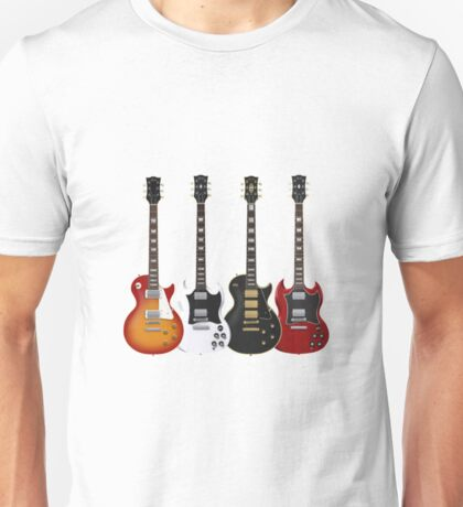 Four Electric Guitars Guitar Shirt Men Unisex T-Shirt
