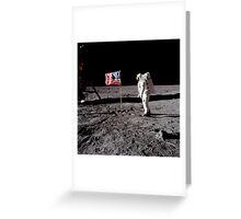 Astronaut salutes the American flag during an Apollo 11 moonwalk. Greeting Card