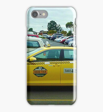 Yellow Taxi Cab at The Pacific Plaza - Werribee, Vic. Australia iPhone Case/Skin