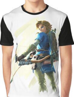 The Legend of Zelda Breath of the Wild - Link With Bow Graphic T-Shirt