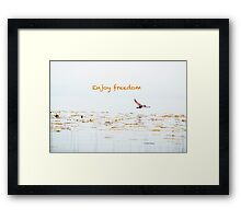 Enjoy Freedom - Freedom, Landscape, Bird, Fly, Peace Framed Print