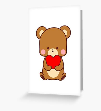 Cute Big Brown Bear Red Heart Valentine Gift  Greeting Card