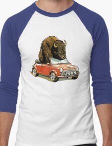 Bison in a Mini. Men's Baseball ¾ T-Shirt