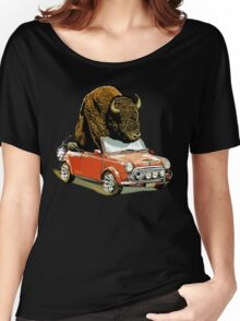 Bison in a Mini. Women's Relaxed Fit T-Shirt