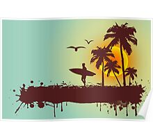 Surfer on tropical background Poster