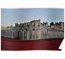 Poppies at the Tower of London - In the evening Poster