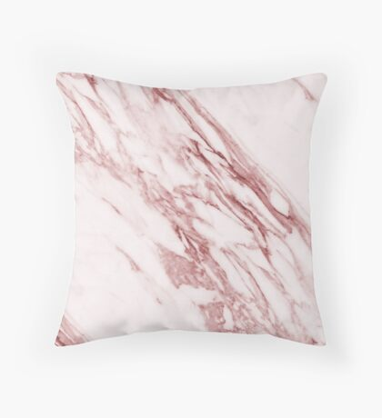 Alabaster rosa - deep pink marble Throw Pillow