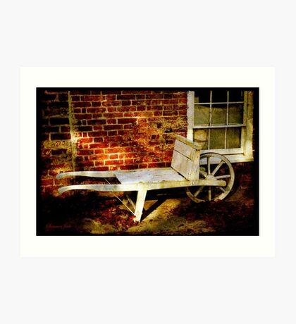 An Old Wheelbarrow, An Ancient House Art Print