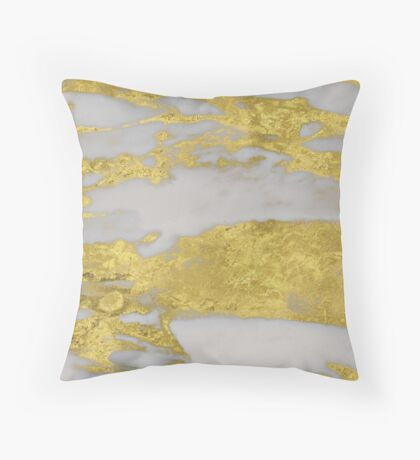 Agria - bright golden marble Throw Pillow