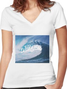 Waves Wild and Free Women's Fitted V-Neck T-Shirt