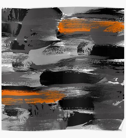 Black Gray Orange Messy Art Poster