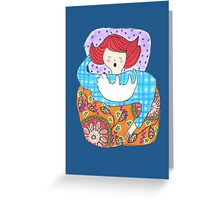 Woman with a tiny dog Greeting Card
