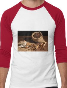 Coffee with whipped cream and cocoa powder Men's Baseball ¾ T-Shirt