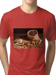 Cup of coffee with whipped cream and cocoa powder Tri-blend T-Shirt