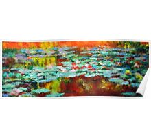Lake water lilies impressionist landscape Poster