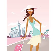 New vintage travel lady with Ticket Photographic Print