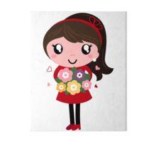 New school vintage girl with Flowers Art Board