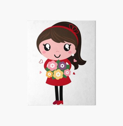 New school vintage girl with Flowers Art Board