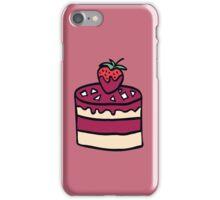 Cake with strawberry. Cartoon illustration. iPhone Case/Skin