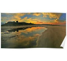 Low Tide at Bamburgh Castle. Poster