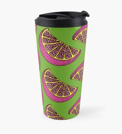 Citrus pattern with bright lime in pop art style Travel Mug