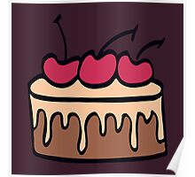 Cake with chocolate and cherry.  Poster