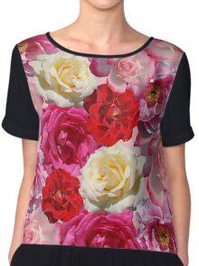Vibrant Garden Roses Design Chiffon Top