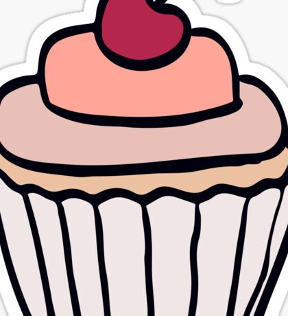 Cupcake with cherry doodle. Cartoon illustration. Sticker