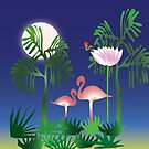 Flamingos at night - Rousseau by 4Flexiway