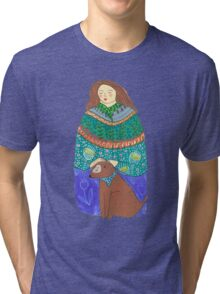 Lady and the dog Tri-blend T-Shirt