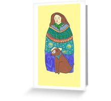 Lady and the dog Greeting Card