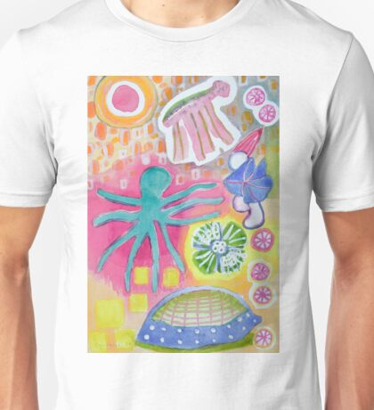 Blue Octopus and white Knight  Unisex T-Shirt