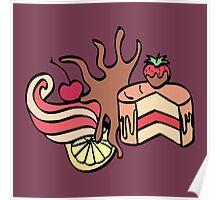 Cake with chocolate and cherry, cream swirl and lemon. Cartoon illustration. Poster