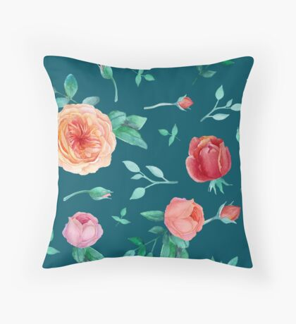 Apricot Peach Pink Roses on Dark Teal Pattern Throw Pillow