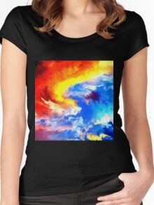 heaven sunset sunrise sky abstract Women's Fitted Scoop T-Shirt